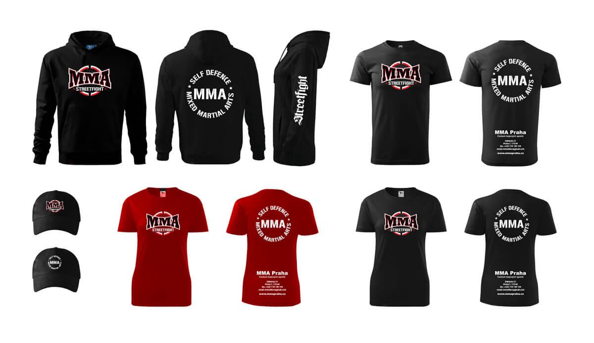 Grafický návrh triček a mikin MMA Praha