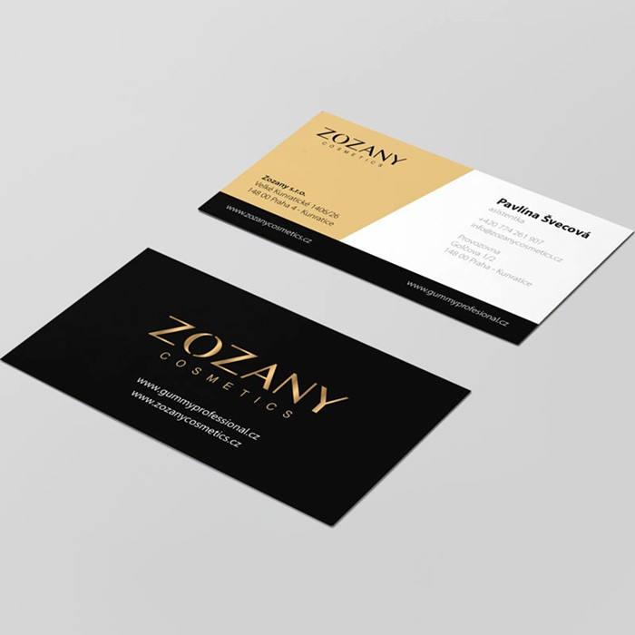 Tvorba grafického návrhu vizitek Zozany Cosmetics