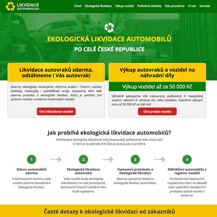 náhled tvorby webových stránek - ekologická likvidace vozidel